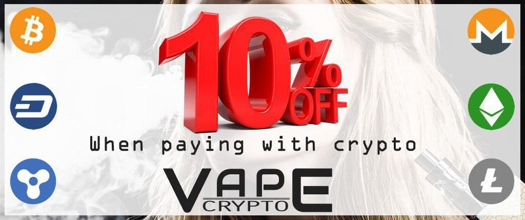 10% Off All Orders Paid for with Bitcoin, Other Cryptos or PayPal
